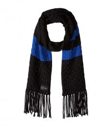 Calvin Klein Black Striped Cable Scarf