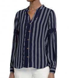 Michael Kors Blue Pattern Striped Lace-Trim Top