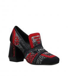 Prada Black Front Logo Heels