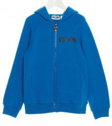 Moschino Little Girls Blue Teddy Hoodie