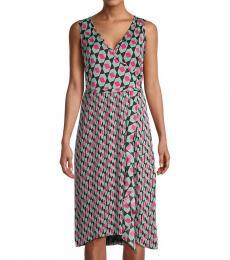 Diane Von Furstenberg Hexagon Black Printed Wrap-Effect Dress