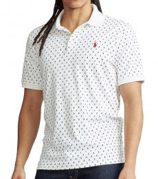 Ralph Lauren White Micro Boats Classic Fit Soft Polo