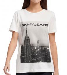 DKNY White/Black Cityscape Logo Tee