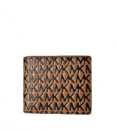 Michael Kors Brown-Black Raised Logo Passcase Wallet
