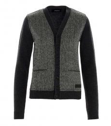 Dsquared2 Grey Herringbone Wool Cardigan