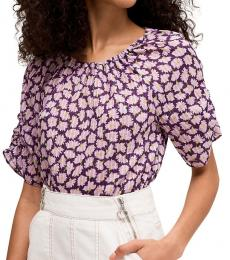 Kate Spade Deep Pansy Sunny Bloom Cotton Top