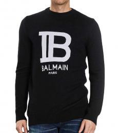 Balmain Black front logo sweater