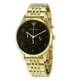 Emporio Armani Gold Black Dial Chronograph Watch