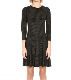 Michael Kors Black Metallic-Dot Flounce-Hem Dress