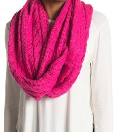 Michael Kors Electric Pink French Cable Knit Infinity Scarf
