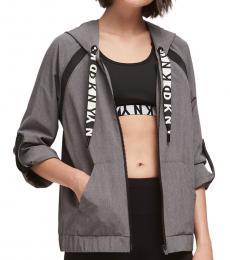 DKNY Grey Melange Roll-Cuff Boxy Hoodie