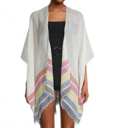 Karl Lagerfeld Ivory Striped Open-Front Coverup