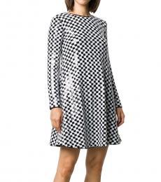 Emporio Armani Blackwhite Sequin Embellished Flared Dress