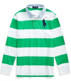 Ralph Lauren Boys Golf Green/White Striped Rugby Polo