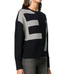 Emporio Armani Black Intarsia-Knit Jumper