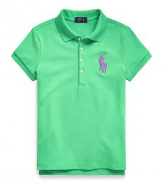 Ralph Lauren Girls Green Hampton Big Pony Polo