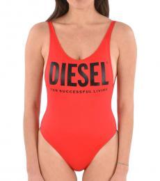 Diesel Red Printed Logo Swimsuit