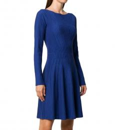 Emporio Armani Electric Blue Textured Long-Sleeved Dress