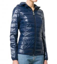 Emporio Armani Blue Feather Down Logo Print Puffer Jacket