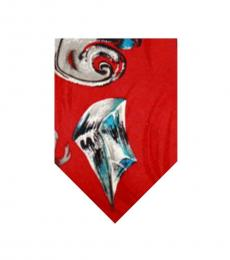 Red Abstract Print Tie