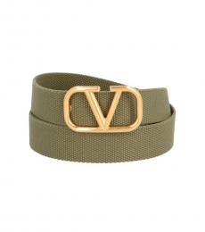 Valentino Garavani Green Logo Buckle Belt