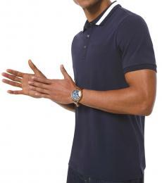 Michael Kors Navy Blue Contrast-Trim Stretch Polo