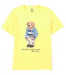 Ralph Lauren Boys Oasis Yellow Varsity Bear T-Shirt