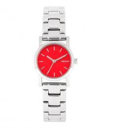 DKNY Silver Soho Mini Orange Dial Watch