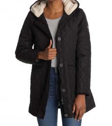 Ralph Lauren Black Hood Diamond Quilt A-Line Jacket