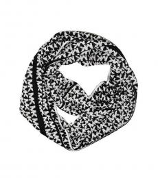 White & Black MK Logo Reversible Scarf