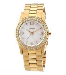 DKNY Gold Crystal Logo Watch