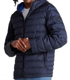 Navy Blue Packable Hooded Down Jacket