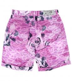 Little Girls Violet Printed Shorts
