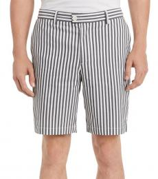 White Classic-Fit Stripe Flat-Front Shorts