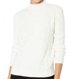 White Mock Neck Pullover Sweater