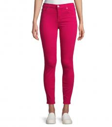 Pink Ankle Skinny Coated Jeans