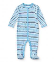 Baby Boys Blue Striped Coverall