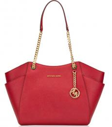 Michael Kors Scarlet Red Jet Set Travel Chain Large Tote