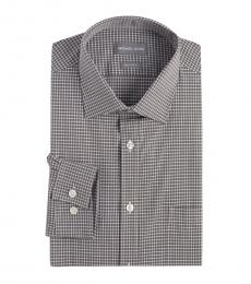 Grey White Regular Fit Check Dress Shirt