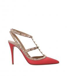 Red Beige Rockstud Heels