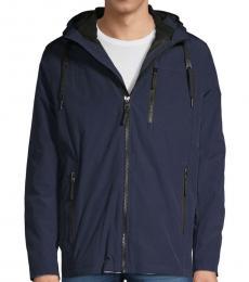 Blue Convertible Hooded Zip Jacket