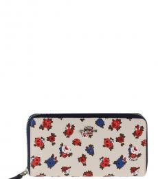 Coach Chalk Floral Accordion Zip Around Wallet