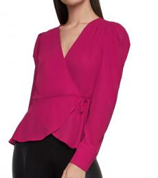 Dark Pink Surplice Blouse