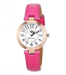 Pink-Rose Gold Leather Casual Watch