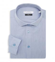 Versace Collection Blue Trend Fit Textured Dress Shirt