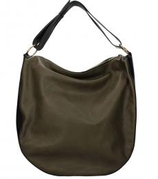 Marni Camouflage Green Solid Large Hobo