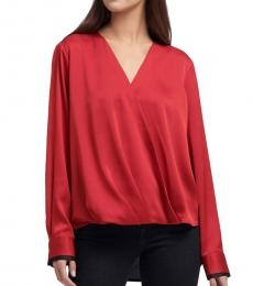 Red Twist Front Blouse