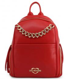 Love Moschino Red Chain Large Backpack