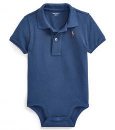 Ralph Lauren Baby Boys Blue Mesh Polo Bodysuit
