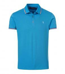 Trussardi Turquoise Logo Classic Polo